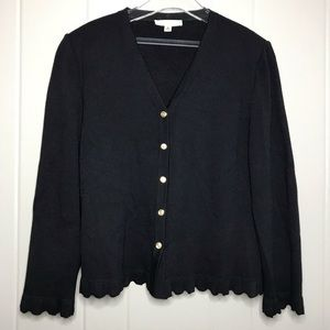 St. John Wool Button Front Cardigan Ruffle Pleated
